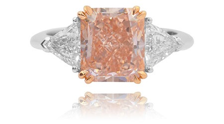 3.89 Carat, Fancy Orangy Pink and Trilliant Diamond Ring, Radiant, VVS2