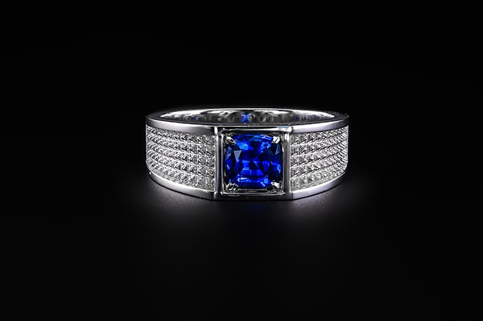 Blue Sapphire Cushion Men's Ring