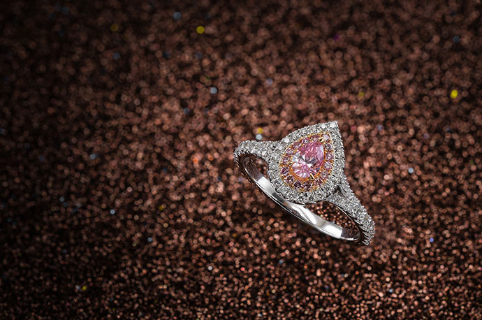 Fancy Intense Purplish Pink Pear Halo Diamond Ring