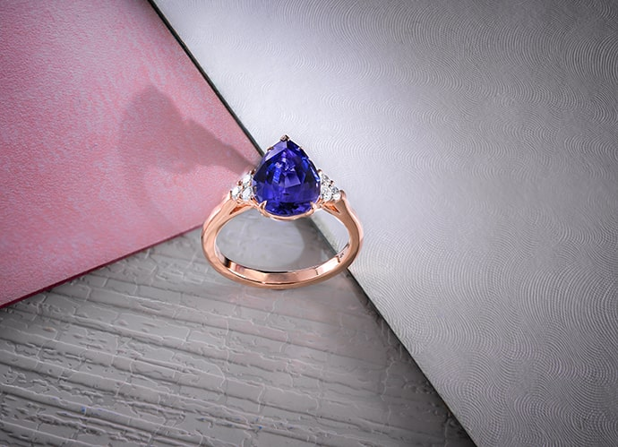 Tanzanite Pear Side Stone Ring (2.74Ct TW)