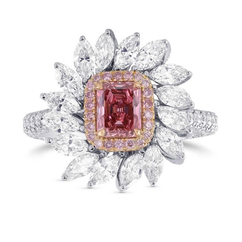 Vivid Pink Emerald Diamond Dress Ring by LEIBISH