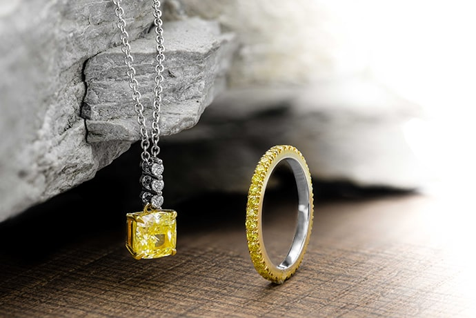 Yellow Diamond Drop Pendant and Full Eternity Yellow Diamond Band