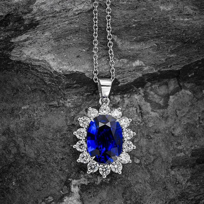 Royal Vivid Blue Sapphire & Diamond Pendant (3.53Ct TW)