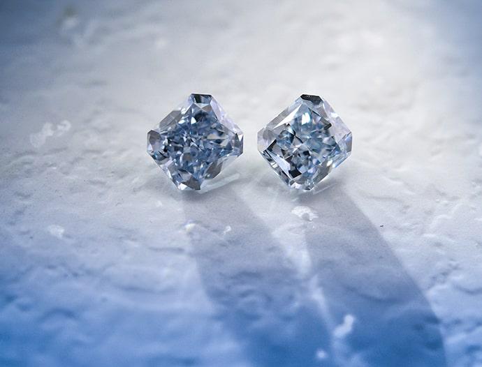 0.69 carat, Fancy Intense Blue Diamonds, Radiant Shape, IF Clarity
