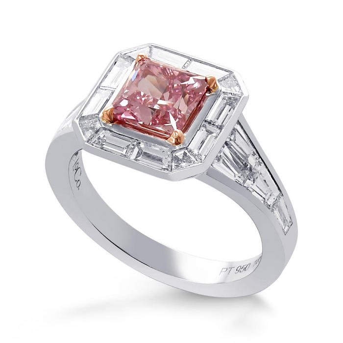 Argyle Fancy Intense Pink Princess Halo Diamond Ring (2.89Ct TW) SKU:   380731