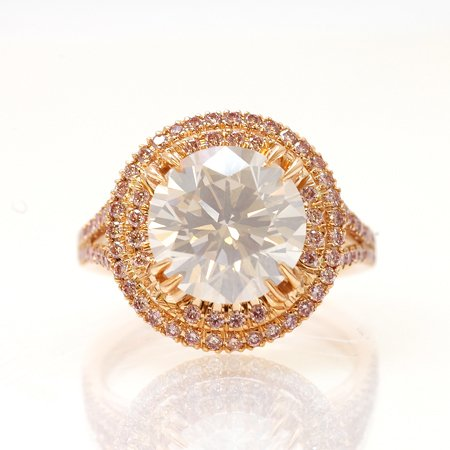 4.02 carat Fancy White diamond ring and fancy pink diamond halo