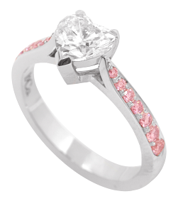 Leibish & Co. Heart shaped diamond and Fancy Pink pave diamond setting