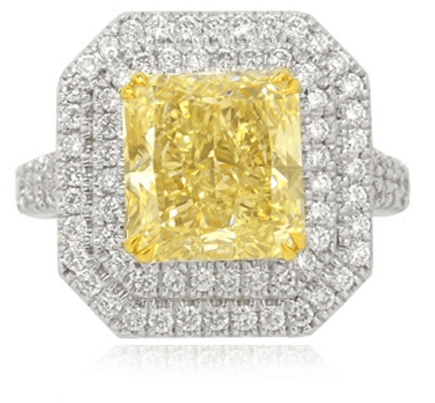 6.45Ct TW Fancy Light Yellow Radiant Diamond Double Halo Ring set in 18K white gold.