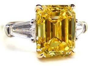 5.01ct Fancy Vivid Yellow Diamond Ring