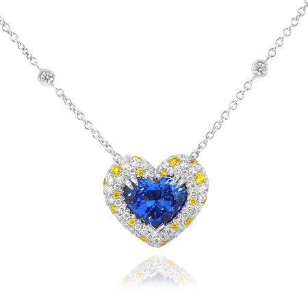 5.55 Carat, Heart Tanzanite White and Fancy Vivid Yellow Diamond Pendant