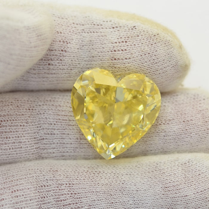 52ct Heart Shape Yellow Diamond