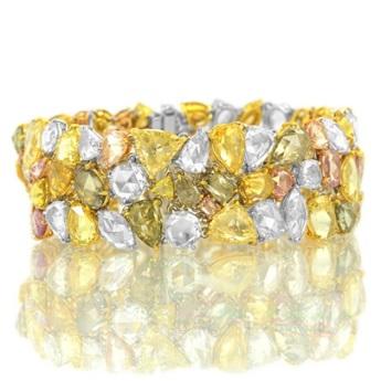 54.84 carat Tutti Frutti Multicolored Diamond Bracelet