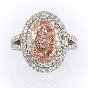 3.30ct Fancy Orangy Pink Oval ring