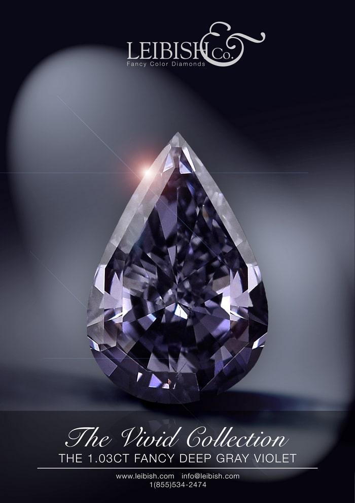 1.03 carat, Fancy Deep Gray Violet, Pear Shape, SI2 Clarity, GIA, SKU 184890