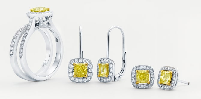 Leibish & Co. fancy intense yellow diamond jewelry collection 'Chateau'
