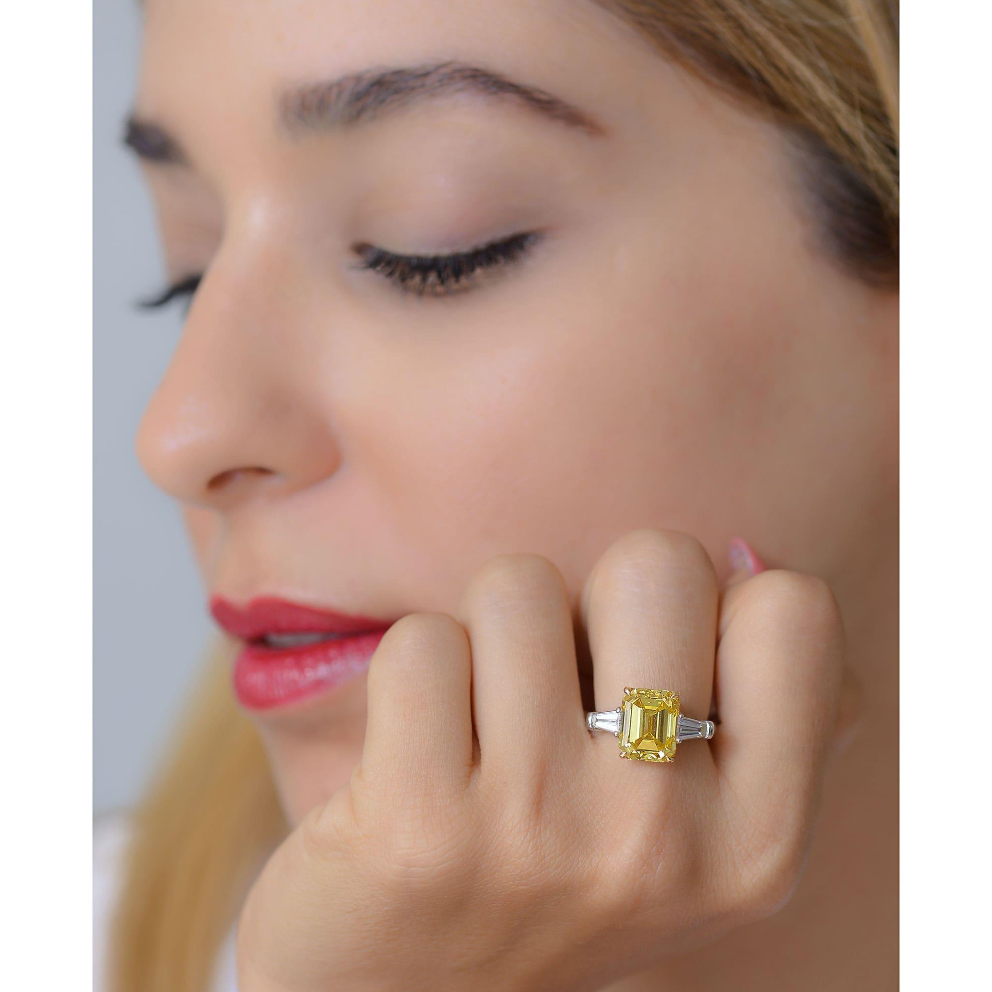 The Leibish & Co. 5.91 ct Fancy Vivid Yellow Emerald cut diamond ring