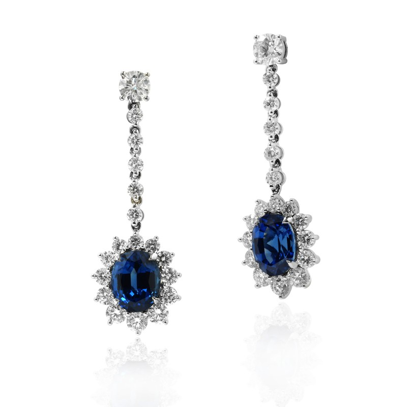 12.15 carat Deep Blue oval Sapphire and Diamond halo drop earrings