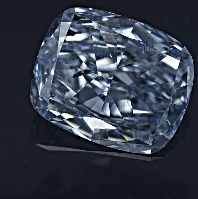 fancy intense blue, cushion shaped diamonds