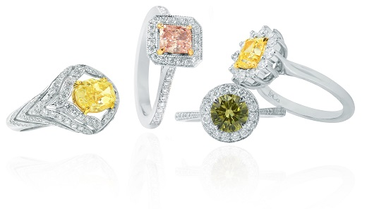 Different setting styles and colors for engagement rings