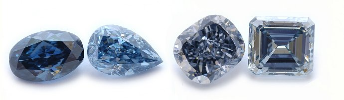 The different color intensities of natural blue diamonds