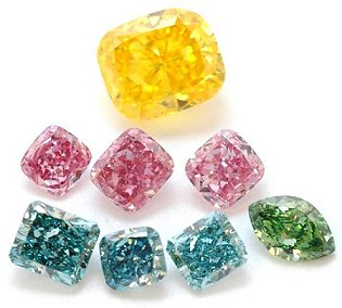 A LEIBISH Collection of Yellow, Pink, Blue, and Green Diamonds