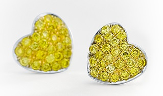 Yellow diamond pave heart shaped earrings