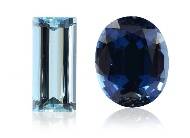 An Aquamarine and a Sapphire next to each other