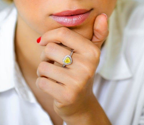Yellow Heart Shaped Diamond Ring