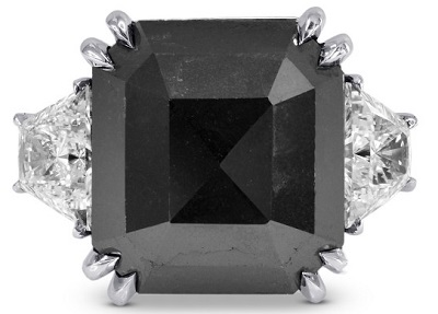Black Diamond Emerald Cut Diamond Ring (14.61Ct TW)