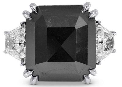 Black Diamond And Emerald Engagement Ring