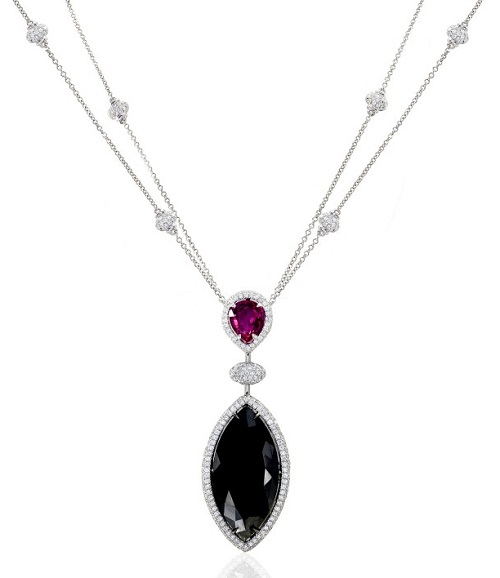 22Ct TW Marquise Black Diamond and Ruby Drop Necklace (20.98Ct TW)