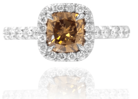 A LEIBISH chocolate diamond halo ring