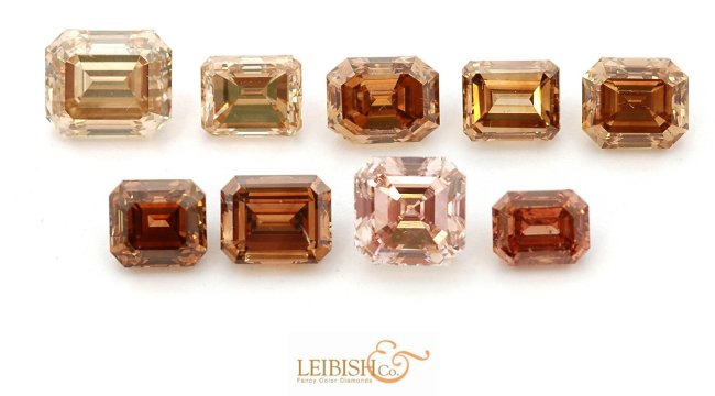 Collection of Emerald Shaped Brown Diamonds