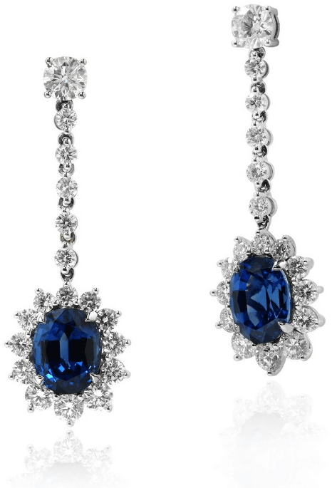 Leibish & Co. 12.15 carat Deep Blue Oval Sapphire and Diamond halo Earrings