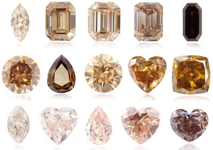 Different Intensities and Color Combinations of Brown Colored Diamonds