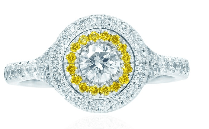 Platinum Collection Color and Fancy Vivid Yellow Diamond Double Halo Ring (0.74Ct TW)