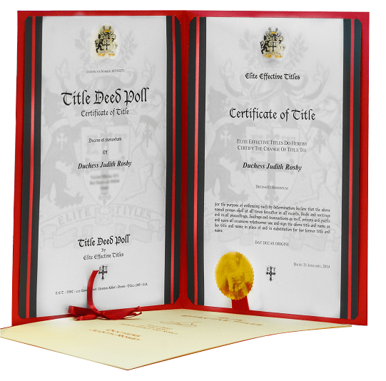Official Certification for Royal Title