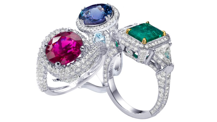 An Emerald, Ruby, and Sapphire Gemstone Engagement Ring