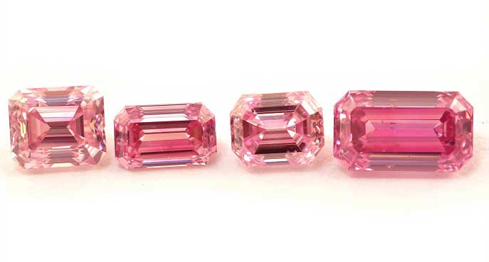 Emerald shape pink diamonds