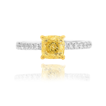 fancy light yellow cushion diamond ring with side diamonds