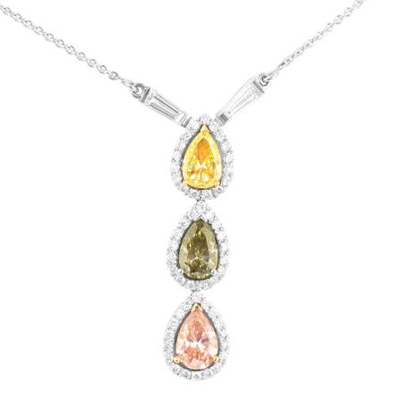 Fancy Mixed Color Drop Pendant Necklace