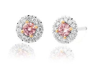 Fancy Pink and White Round Diamond Earrings