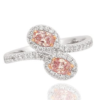 Fancy Pink Diamond Cross Over Ring