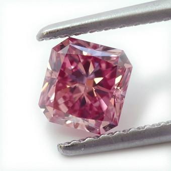 0.72 carat, Fancy Vivid Purplish Pink, Radiant Shape, SI1 Clarity, GIA, SKU PL4088
