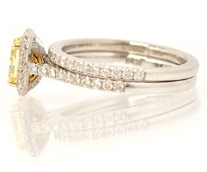 Fancy Yellow Halo Ring with Matching Wedding Band