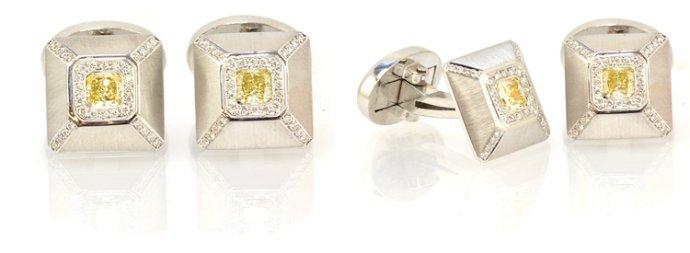 Radiant Shaped Fancy Yellow Diamond Cufflinks