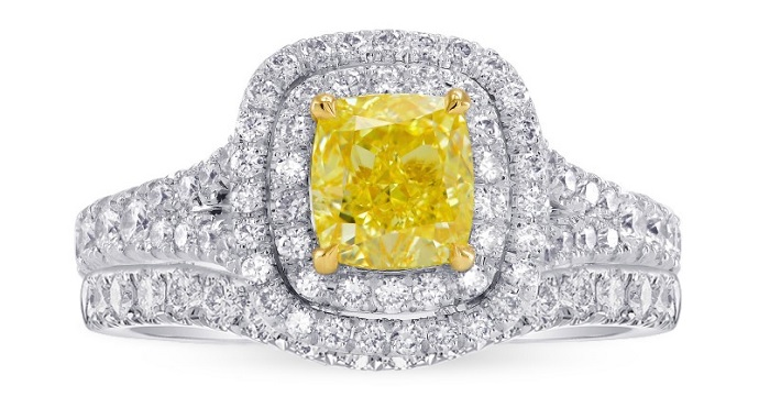 Fancy Intense Yellow Cushion Diamond Double Halo Engagement & Wedding Ring Set (1.85Ct TW)