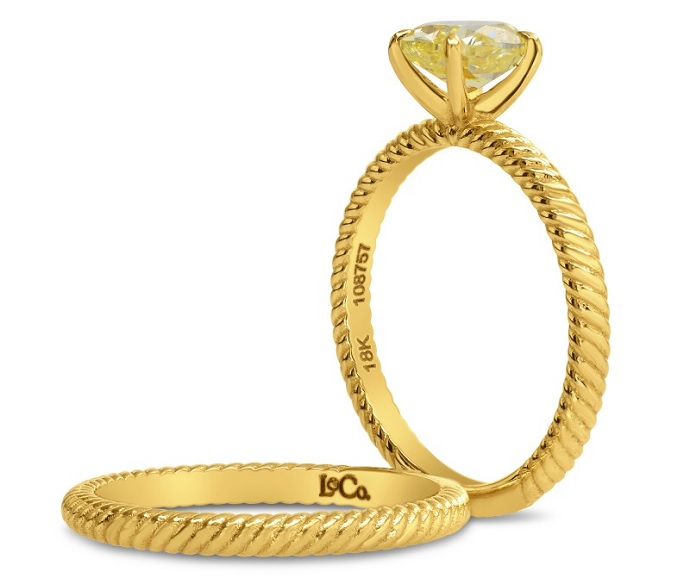 Fancy Intense Yellow Oval Engagement & Wedding Ring Set