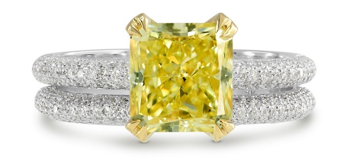 Fancy Intense Yellow Radiant Diamond Wedding Set (2.56Ct TW)