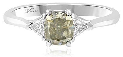 Leibish & Co. 1.01 carat Fancy Gray cushion and Triangle diamond ring